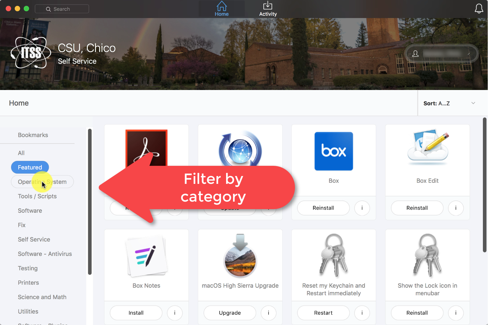 Categories buttons on the left allow you to filter for content, or use the Search box at the very top of the app.