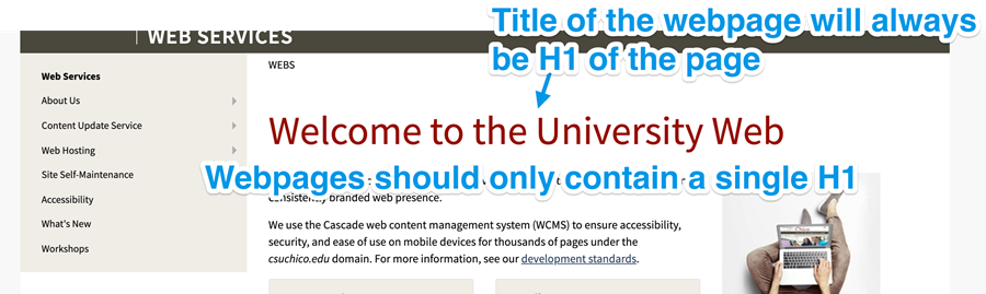 web pages should only contain a single H1, webpages in the Campus web make the title of webpage the H1