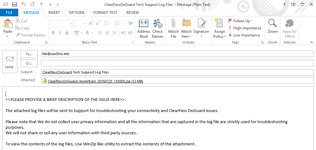 An example of the email client being configured to send logs