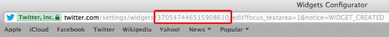 Browser address bar displaying your widget 18–digit ID number