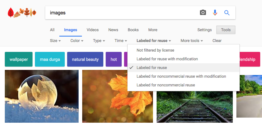 example of using images labeled for reuse using Google Images