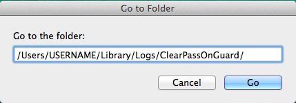 Entering the full path to the Clearpass Onguard logs