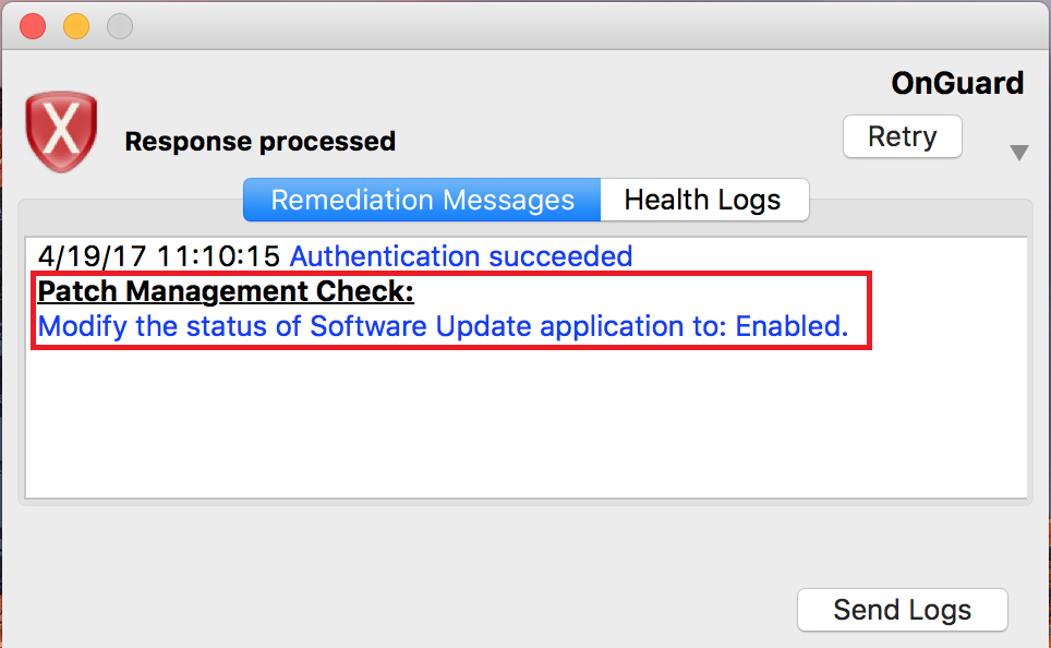 ClearPass OnGuard notification to modify system updates.