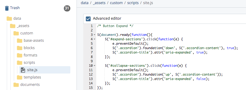 example of adding JavaScipt code into the site.js file