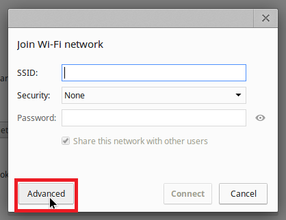 """Join Wi-Fi network box and selecting """"Advanced""""."""
