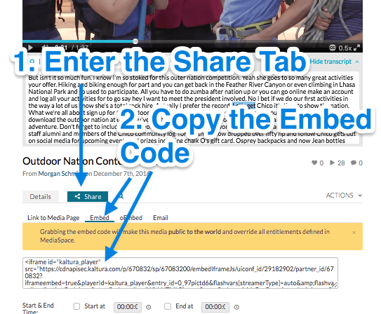 enter the share tab to copy the embed code used to display a video into a webpage