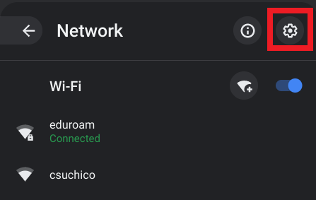 Screenshot of the network menu.