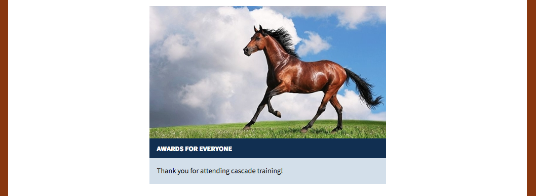 Large card with image of horse running in a field