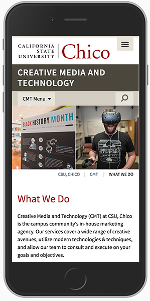 Cell phone showing CMT website within the Chrome browser