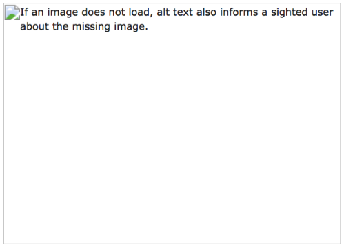 """If an image does not load, alt text also informs a sighted user about the missing image"""