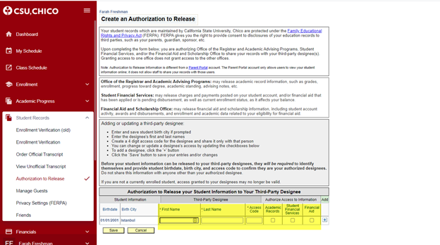 Title: Create an authorization page - Description: Screenshot shows the dashboard menu on the right side of the screen. Here, the student records menu is open and authorization to release option is selected. At the bottom of the screenshot, the student information is highlighted.