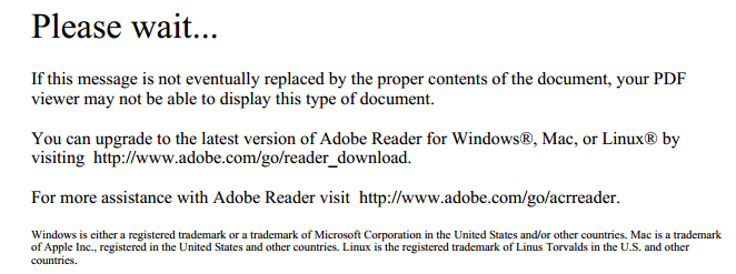Screenshot of the PDF Please wait... error for loading a PDF in Google Chrome.