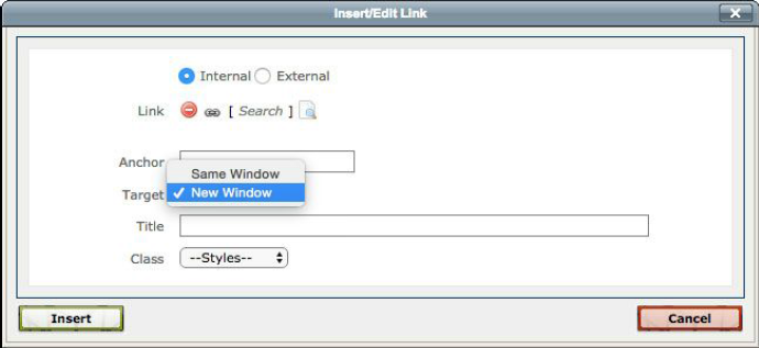 Cascade insert a link box displaying how to open links in a new window.