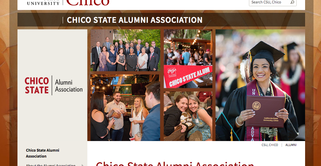 Chico State alumni association website's banner, with collage of Chico State alumni