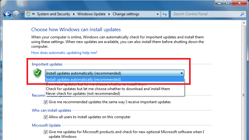 "Under ""Important Updates"", change the settings to ""Install updates automatically (recommended)""."