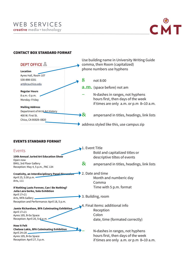 Web Services cheat sheet on university styles