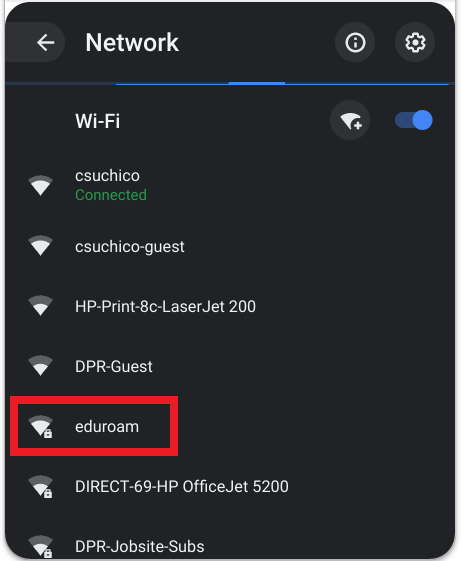 Screenshot of the wireless networks menu.