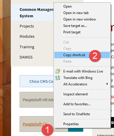 IE copy shortcut