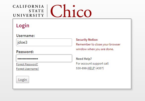 Chico State sign-in